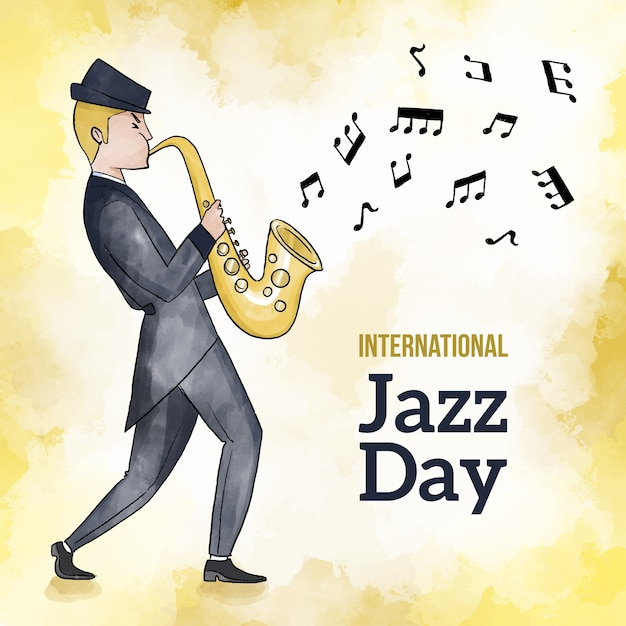 Internationaler aquarell-jazz-tag Kostenlosen Vektoren