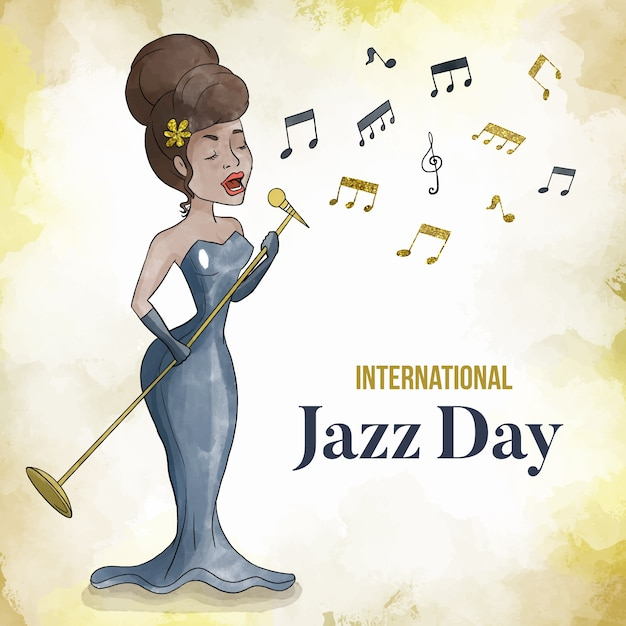 Internationaler aquarell-jazz-tag Kostenlosen Vektoren