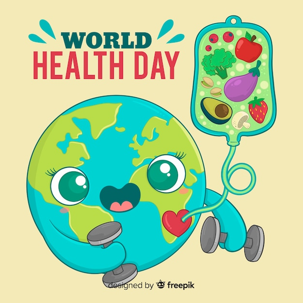 Internationaler gesundheitstag hintergrund Kostenlosen Vektoren