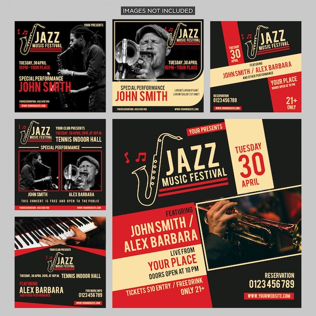 Internationaler jazz-social-media-beitrag Premium Vektoren