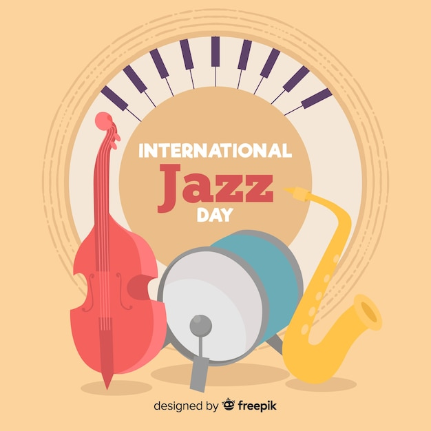 Internationaler jazz-tag-hintergrund Kostenlosen Vektoren