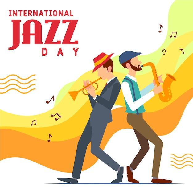 Internationaler jazz-tag in flachem design Kostenlosen Vektoren