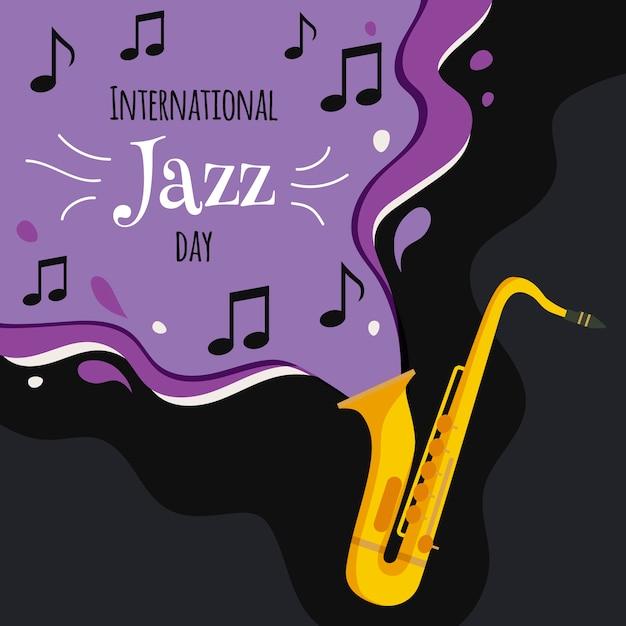 Internationaler jazz tag mit saxophon und noten Kostenlosen Vektoren