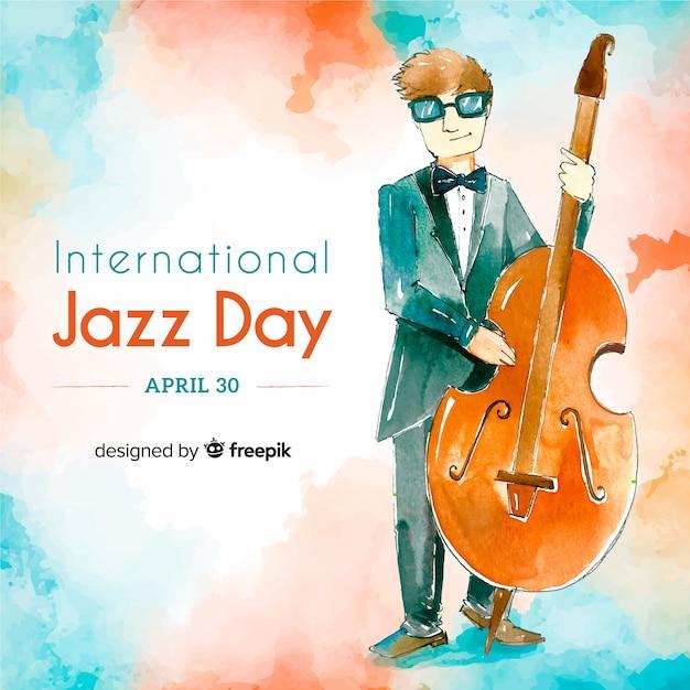 Internationaler jazz-tageshintergrund des aquarells Kostenlosen Vektoren