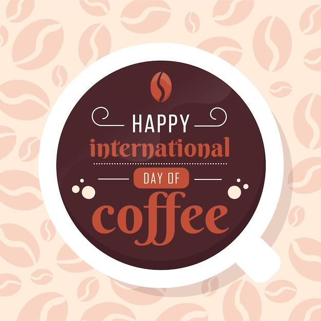 Internationaler kaffeetag mit flachem design Kostenlosen Vektoren
