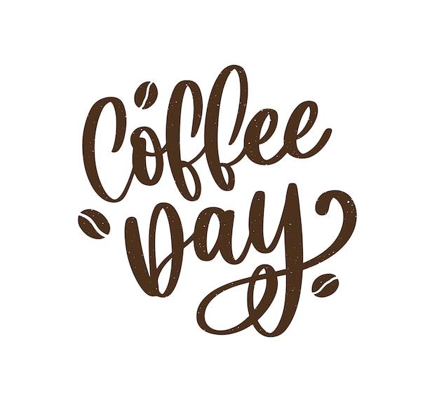 Internationaler kaffeetag schriftzug Premium Vektoren
