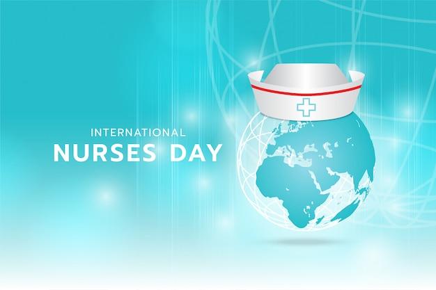 Internationaler krankenschwestertag: erzeugte bildkrankenschwester-kappe auf der erde digitales bild von cyan-licht und streifen, die sich schnell über cyan-hintergrund bewegen. Premium Vektoren