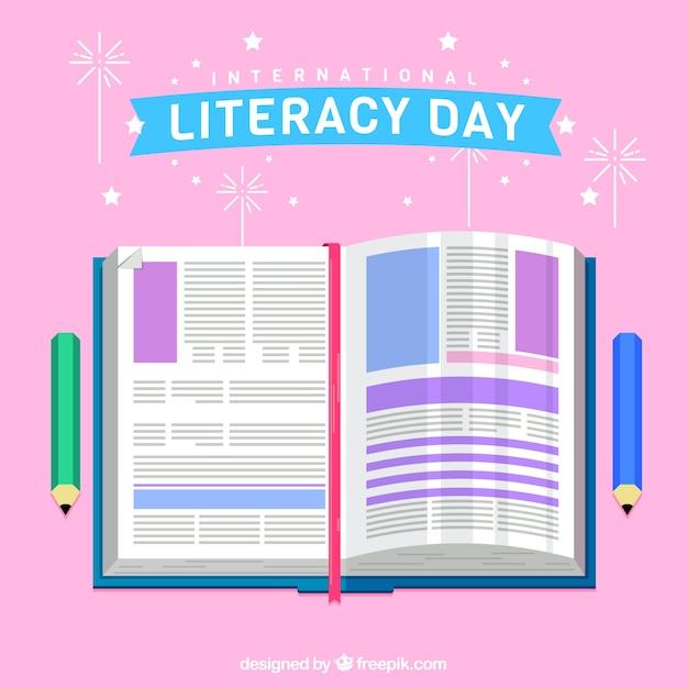 Internationaler literaturtag hintergrund mit buch in flachem design Kostenlosen Vektoren