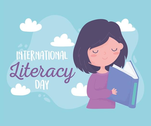 Internationaler tag der alphabetisierung, glückliches mädchen, das lehrbuchausbildung liest Premium Vektoren