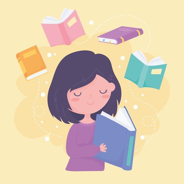 Internationaler tag der alphabetisierung, mädchen liest lehrbuch und bücher bildung Premium Vektoren