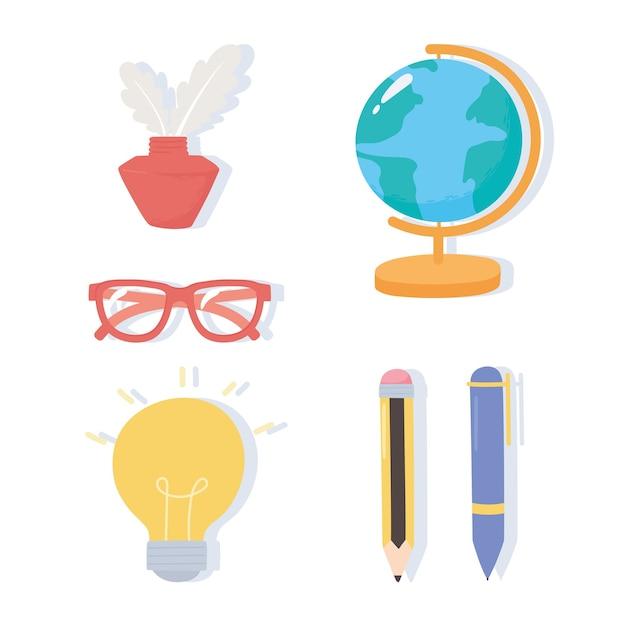 Internationaler tag der alphabetisierung, schulkarte tinte brille stift bleistift ikonen Premium Vektoren