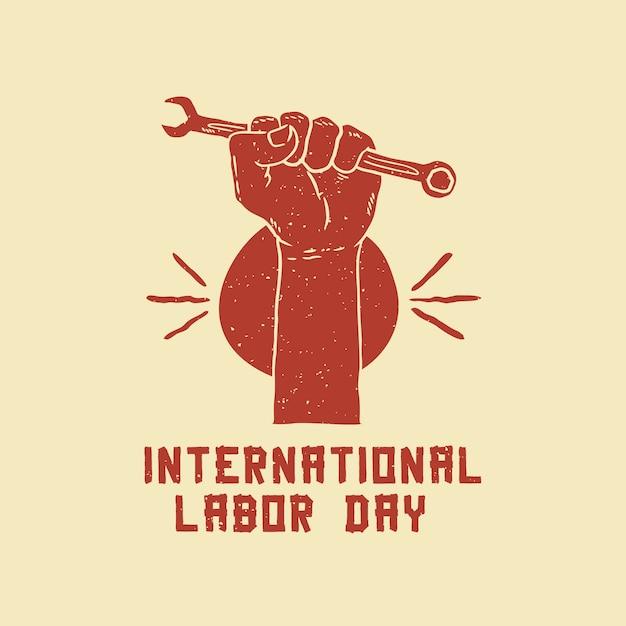 Internationaler tag der arbeit, der plakat zeichnet Premium Vektoren