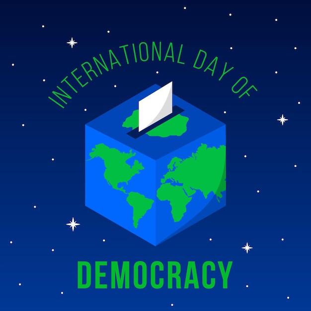 Internationaler tag der demokratie abstimmung und erde Kostenlosen Vektoren