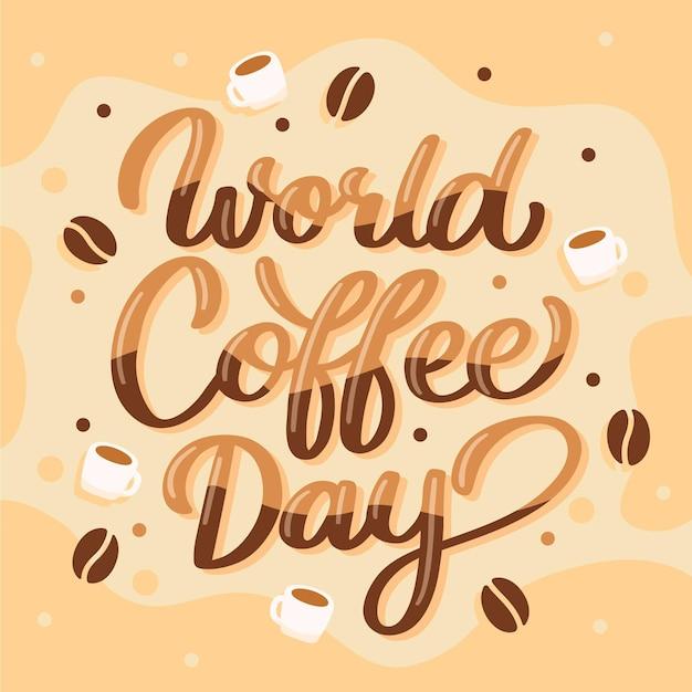 Internationaler tag der kaffeebeschriftung Kostenlosen Vektoren