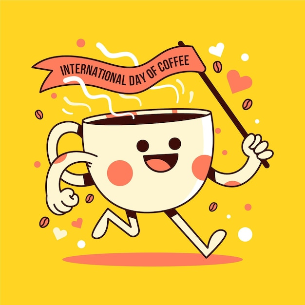 Internationaler tag der kaffeeillustration Kostenlosen Vektoren