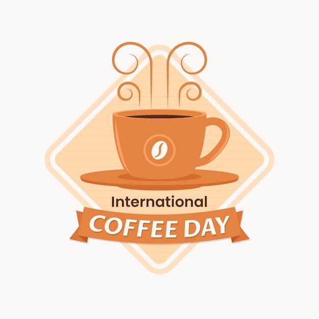 Internationaler tag der kaffeeillustration Kostenlosen Vektoren
