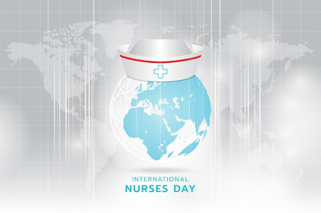 Internationaler tag der krankenschwester: erzeugte bildkrankenschwester-kappe auf dem cyanbild der erde von hellgrau und streifen, die sich schnell über hellgrauen weltkartenhintergrund bewegen. Premium Vektoren