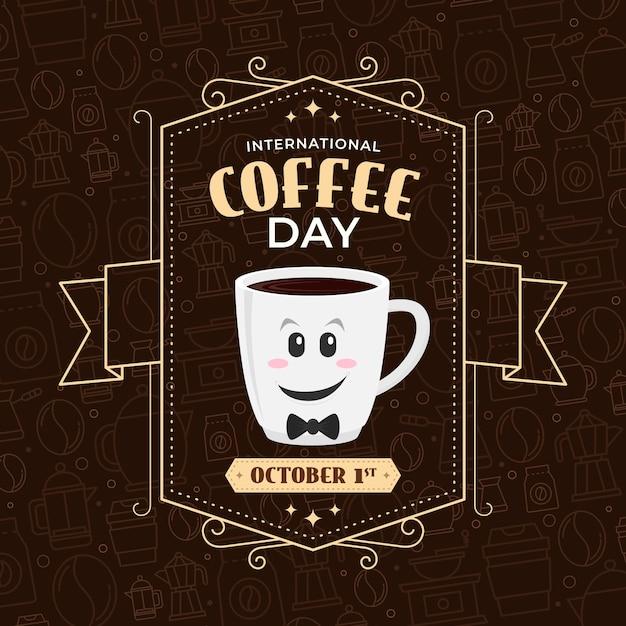 Internationaler tag des kaffee vintage design Kostenlosen Vektoren