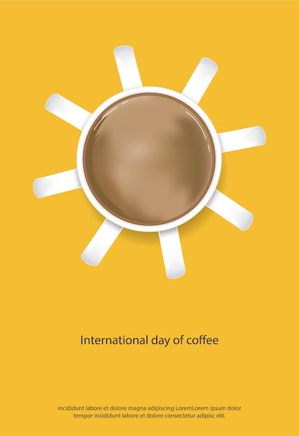 Internationaler tag des kaffees poster vector illustration Kostenlosen Vektoren