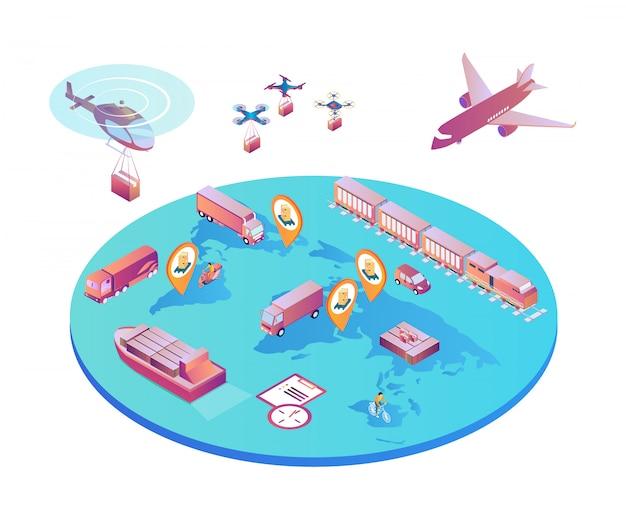 Internationaler transport verschiedene transportarten. Premium Vektoren