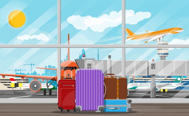 Internationales flughafenkonzept. Premium Vektoren