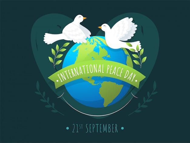 Internationales friedensfeiertags-nachrichtenband mit erdkugel, olivenblattzweig und fliegenden tauben auf grünem hintergrund. Premium Vektoren