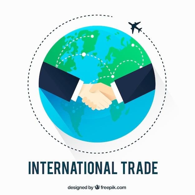 Internationales handelskonzept mit flachem design Kostenlosen Vektoren