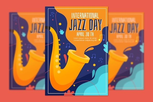 Internationales jazz-tagesplakat des flachen designs Kostenlosen Vektoren