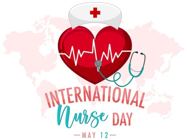 Internationales krankenschwestertag-logo mit großem herzen und krankenschwesterkappe auf weltkartenhintergrund Premium Vektoren