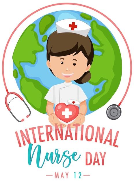 Internationales krankenschwestertag-logo mit niedlicher krankenschwester auf globushintergrund Premium Vektoren