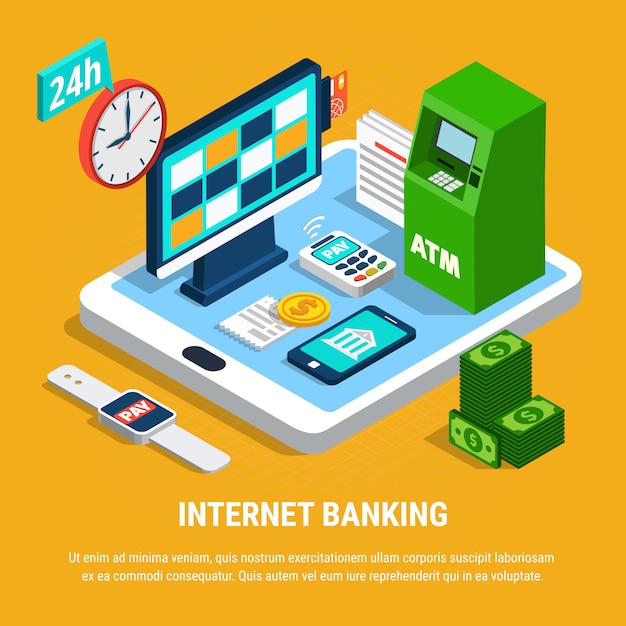 Internet-banking-isometrische zusammensetzung Kostenlosen Vektoren