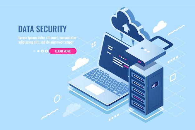 Internet-datensicherheitskonzept, laptop mit servergestell und uhr, schutz- und verschlüsselungsdaten Kostenlosen Vektoren