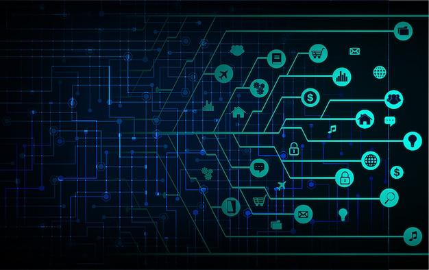Internet der dinge, cyber-technologie Premium Vektoren