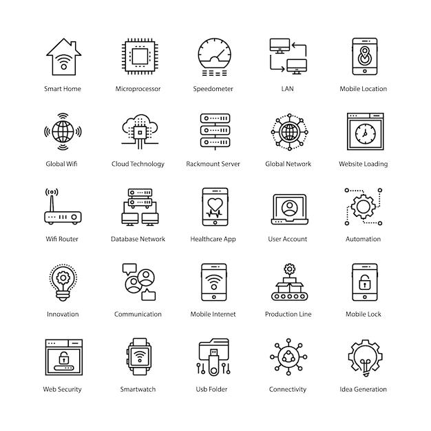 Internet der dinge icons set Premium Vektoren