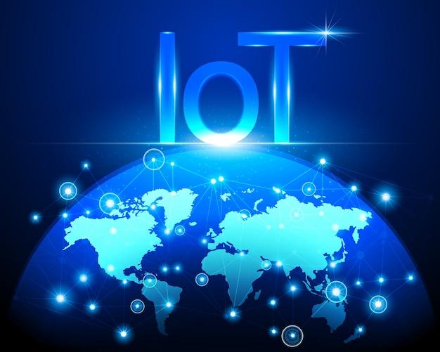 Internet der dinge (iot) technologie und weltkarte Premium Vektoren