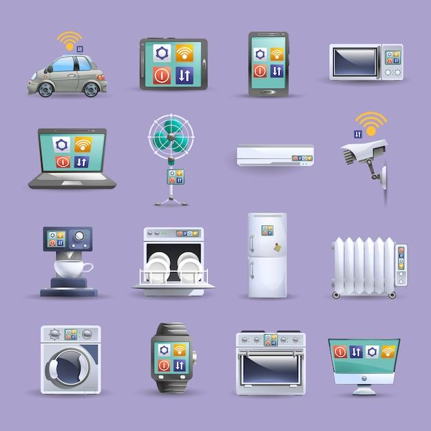 Internet der flachen ikonen der sachen eingestellt Kostenlosen Vektoren