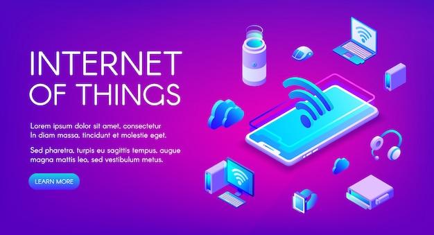 Internet der sachen illustration der kommunikation der intelligenten geräte im drahtlosen wi-fi-netzwerk Kostenlosen Vektoren