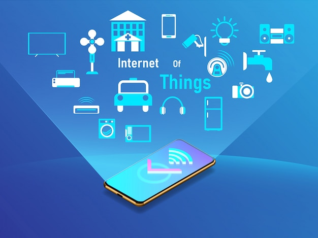 Internet des sachenentwurfskonzeptes mit smartphone. Premium Vektoren