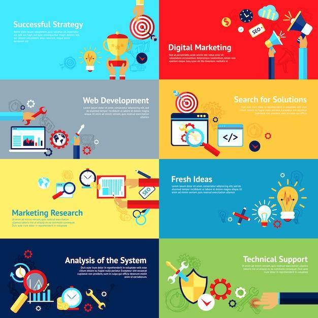 Internet-Design-Konzept-Set Kostenlose Vektoren