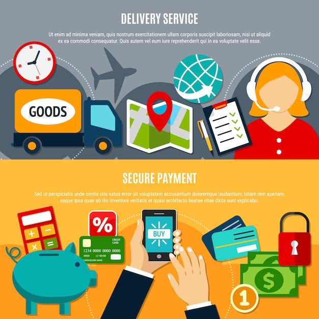Internet-einkaufen-horizontale fahnen Kostenlosen Vektoren