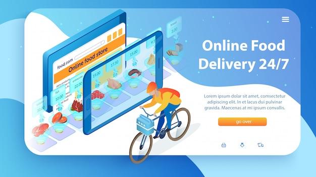 Internet food store boy mit dem fahrrad 24/7 lieferung. Premium Vektoren