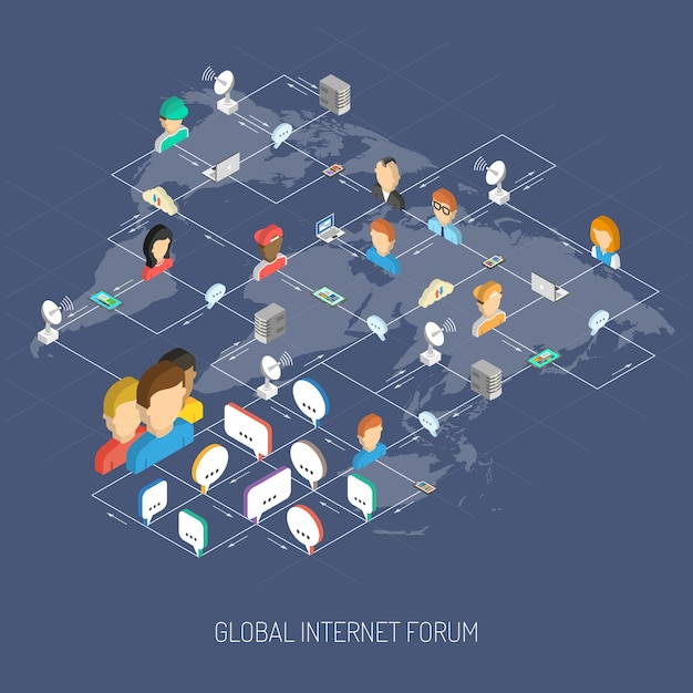 Internet forum konzept Kostenlosen Vektoren