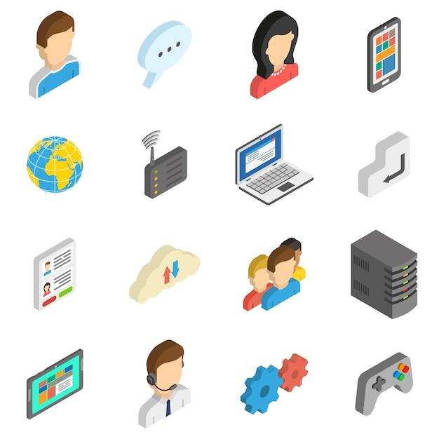 Internet isometrische icon set Kostenlosen Vektoren