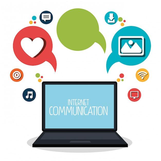 Internet-kommunikation stellen icons Kostenlosen Vektoren