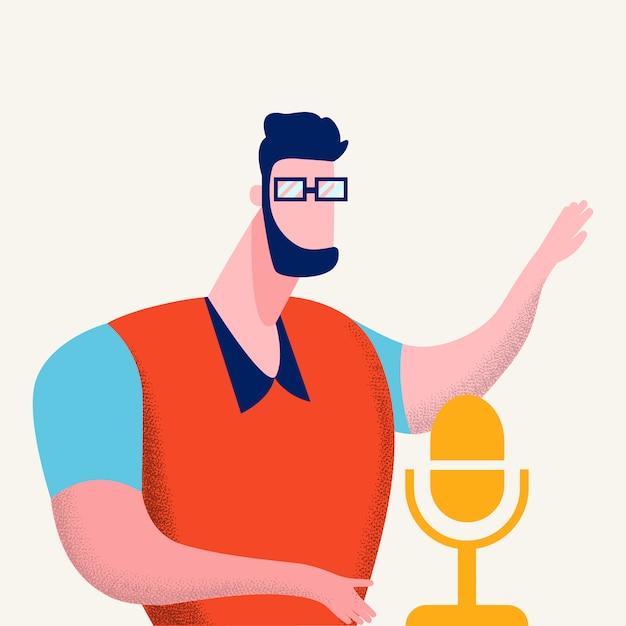 Internet-podcasting-programm-vektor-illustration Premium Vektoren