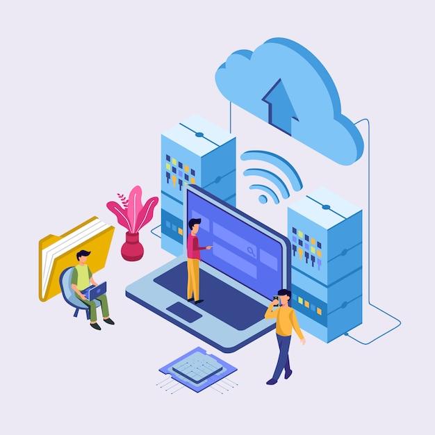 Internet-rechenzentrumsverbindung, verwalter des web-hosting-konzeptes. Premium Vektoren