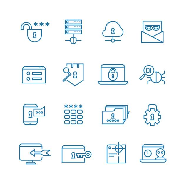 Internet-schutz- und sozialversicherungsentwurfs-vektorikonen Premium Vektoren