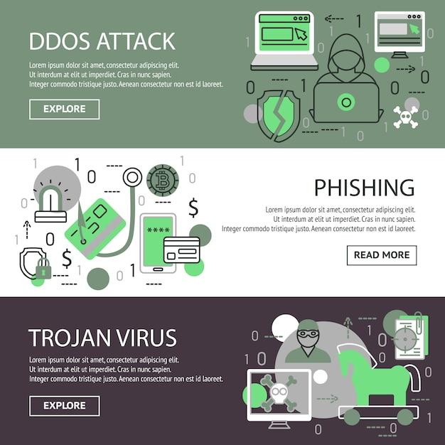 Internet security banner set Kostenlosen Vektoren
