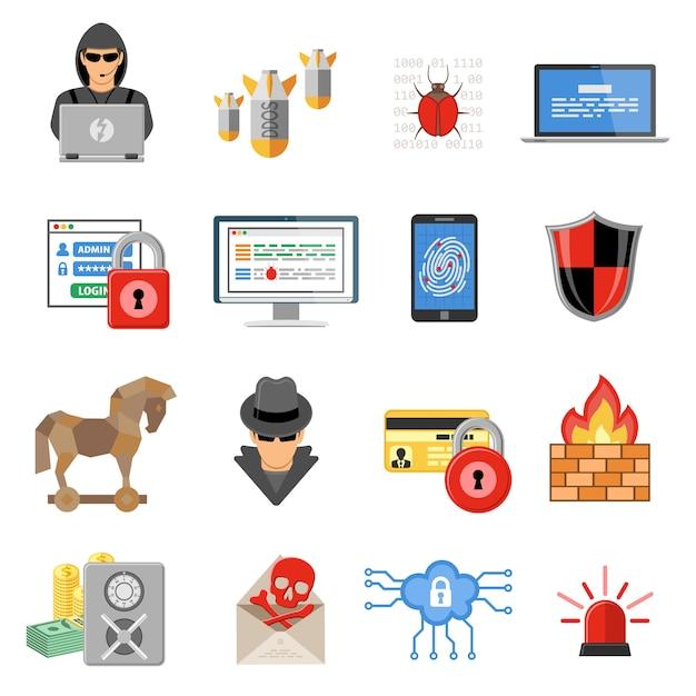 Internet security flat icon set Premium Vektoren
