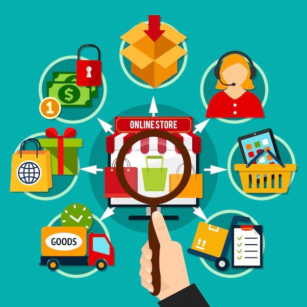 Internet shop zusammensetzung Kostenlosen Vektoren
